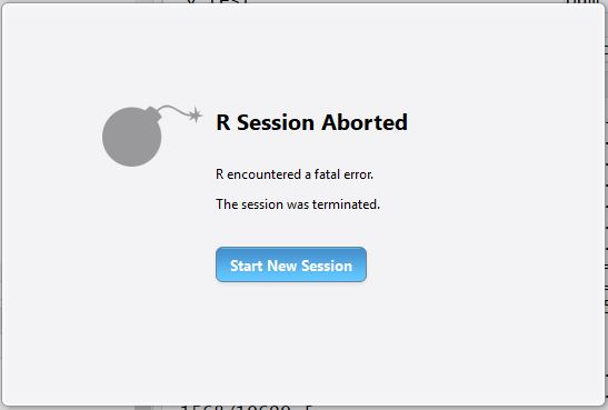 R Session Aborted - R encountered a fatal error. The Session was terminated.